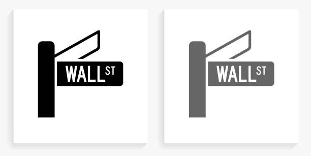 Wall Street Sign Black and White Square Icon Wall Street Sign Black and White Square Icon. This 100% royalty free vector illustration is featuring the square button with a drop shadow and the main icon is depicted in black and in grey for a roll-over effect. wall street stock illustrations