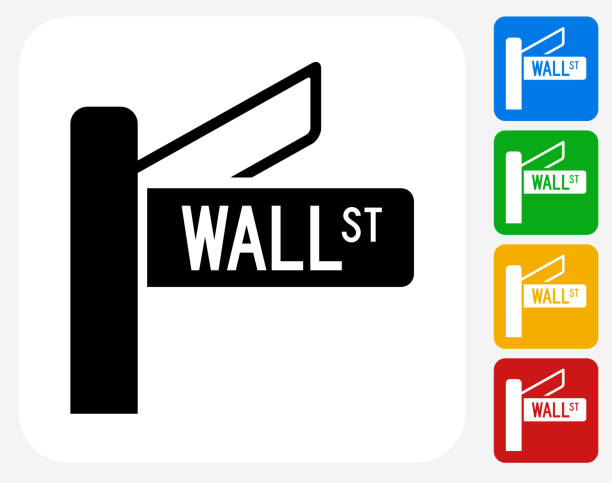 Wall Street Sign Icon Flat Graphic Design Wall Street Sign Icon. This 100% royalty free vector illustration features the main icon pictured in black inside a white square. The alternative color options in blue, green, yellow and red are on the right of the icon and are arranged in a vertical column. wall street stock illustrations