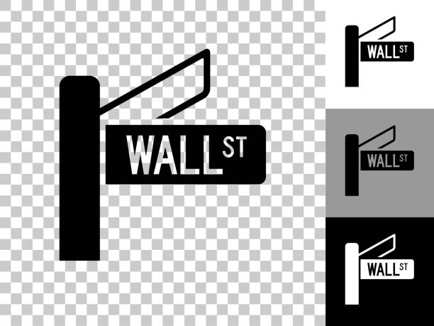 Wall Street Sign Icon on Checkerboard Transparent Background Wall Street Sign Icon on Checkerboard Transparent Background. This 100% royalty free vector illustration is featuring the icon on a checkerboard pattern transparent background. There are 3 additional color variations on the right.. wall street stock illustrations