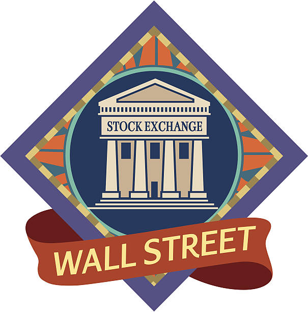 Wall Street A vector icon of the wall street stock exchange. wall street stock illustrations