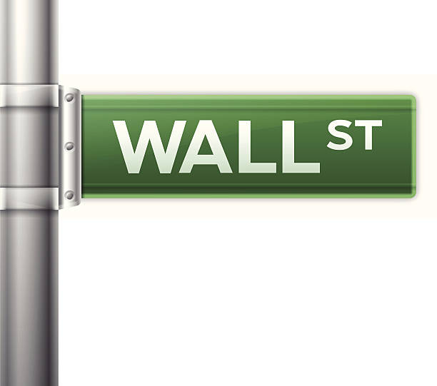 Wall Street Wall street sign isolated on white. EPS 10 file. Transparency effects used on highlight elements. wall street stock illustrations