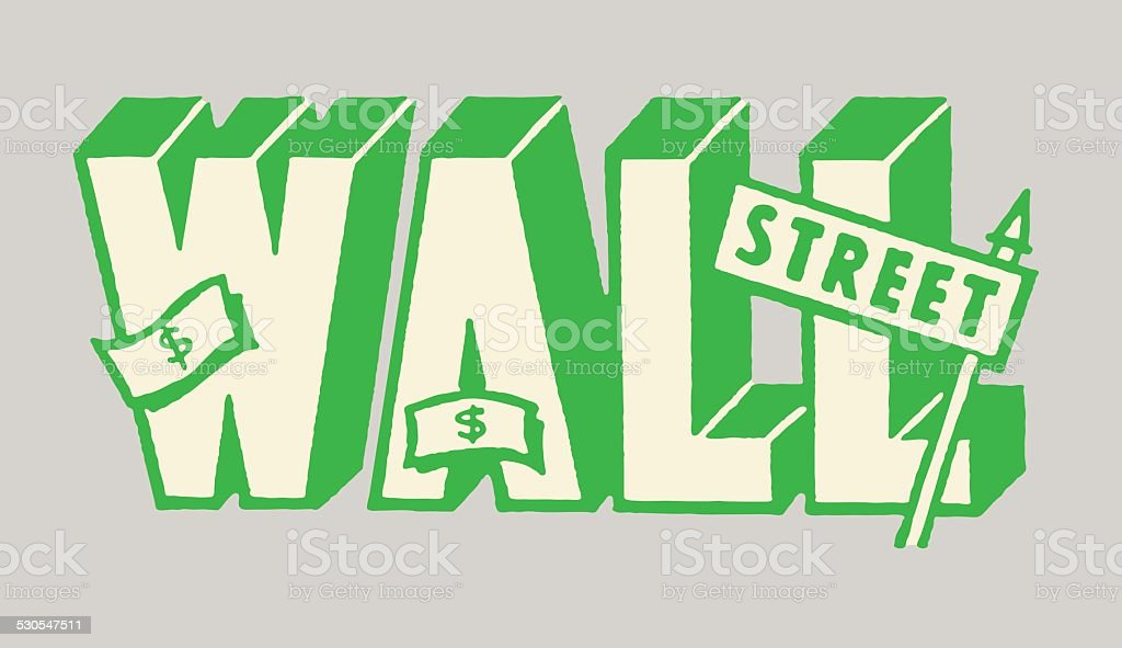Wall Street vector art illustration