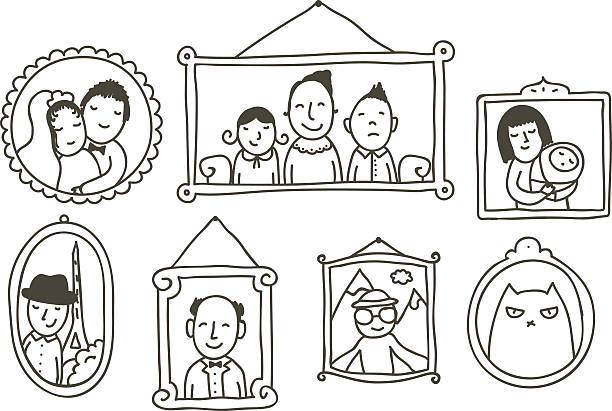 wall with framed photos - 家族写真点のイラスト素材/クリップアート素材/マンガ素材/アイコン素材