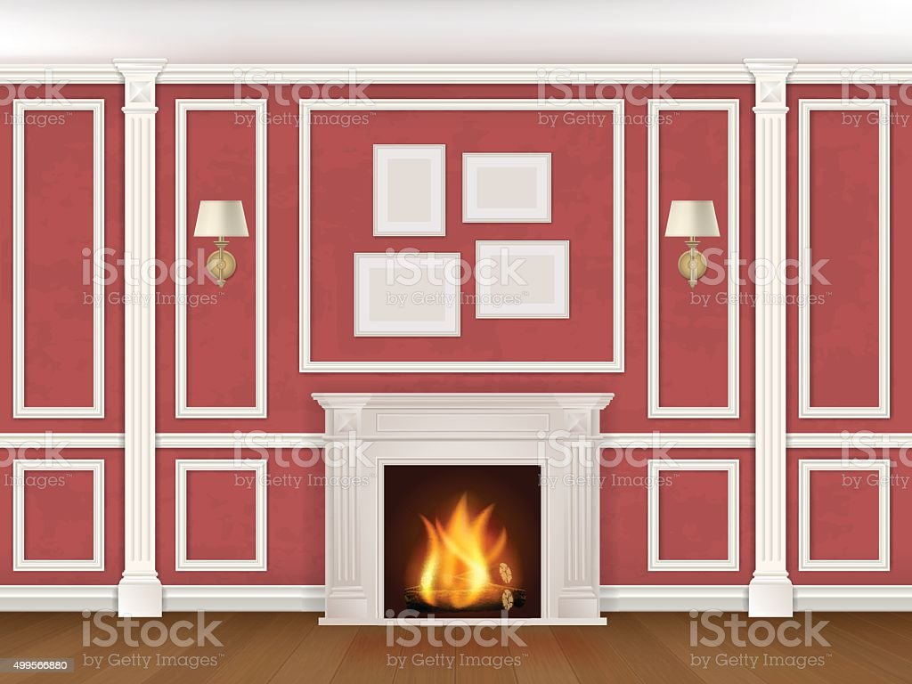 wall with pilasters, fireplace, sconces vector art illustration