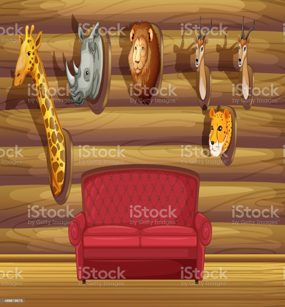 wall with stuffed head decorations royalty-free wall with stuffed head decorations stock vector art & more images of animal