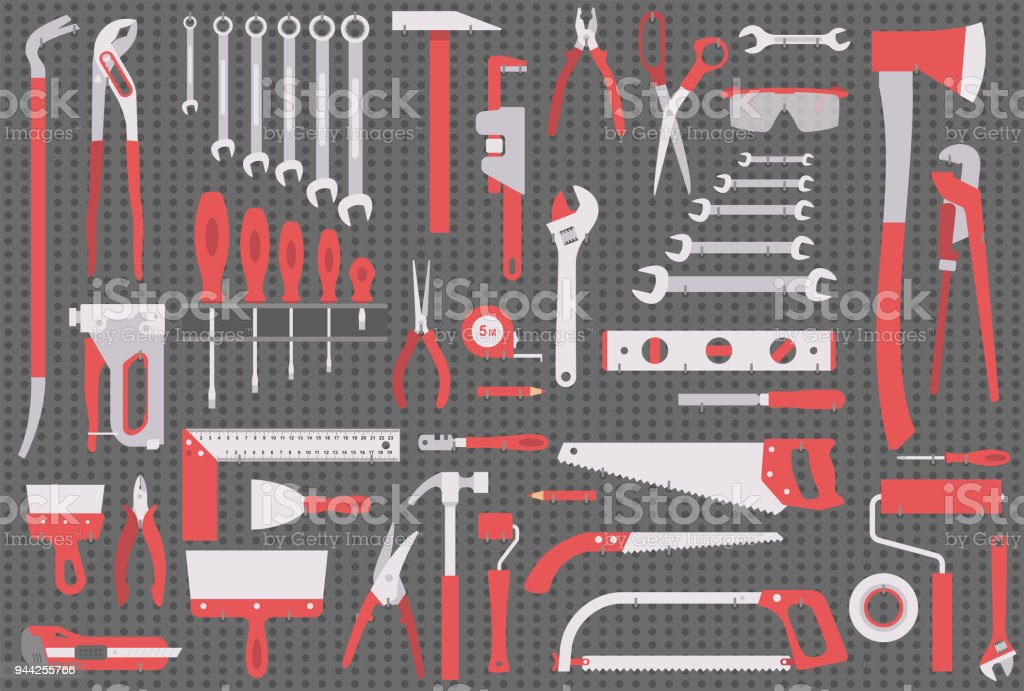 Wall with Tools vector art illustration