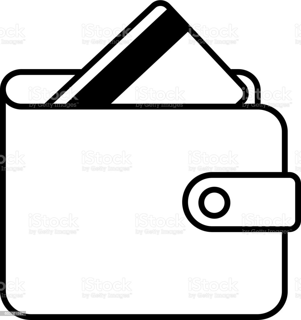 wallet and credit card icon black contour of vector