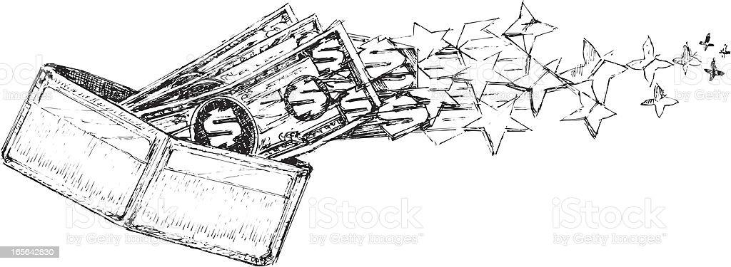 Wallet and Dollar Bills Flying Away vector art illustration