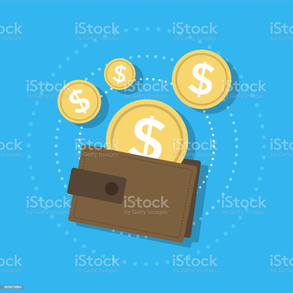 Wallet and gold coins icon. vector art illustration