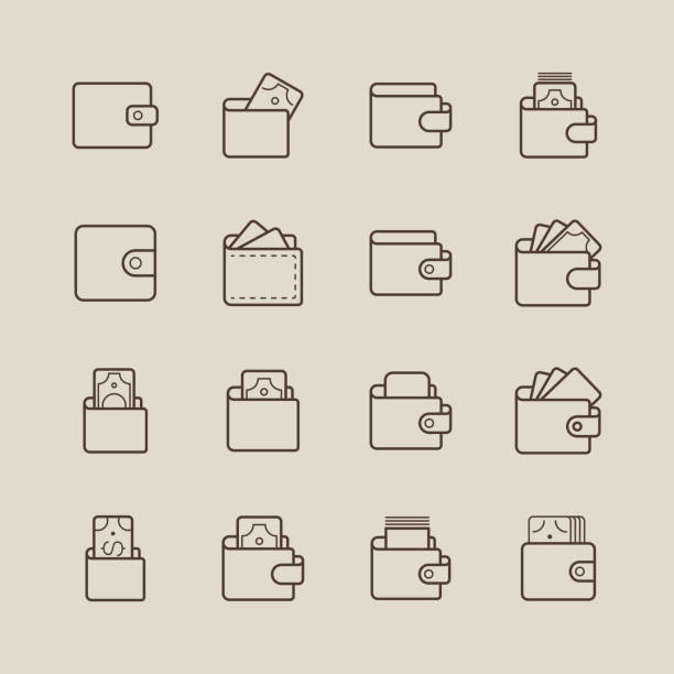 Wallet and Money Icons Wallet and money icons,vector illustration. EPS 10. change purse stock illustrations