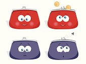 Set of four Vector  cartoon wallet characters. Two of them are happy to be full and smiling and the other two are sad because of being empty.