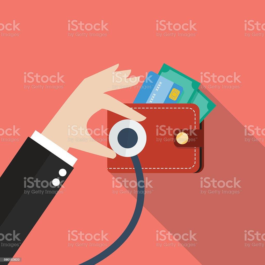 Wallet financial checkup vector art illustration