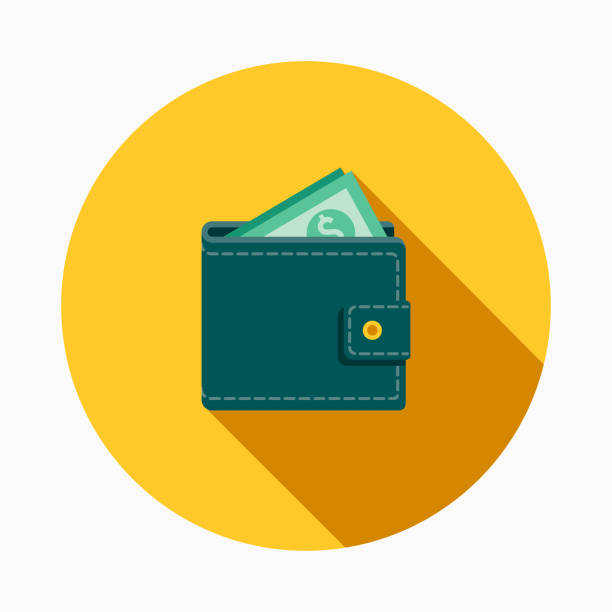 Wallet Flat Design E-Commerce Icon A flat design styled shopping & e-commerce icon with a long side shadow. Color swatches are global so it's easy to edit and change the colors. wallet stock illustrations