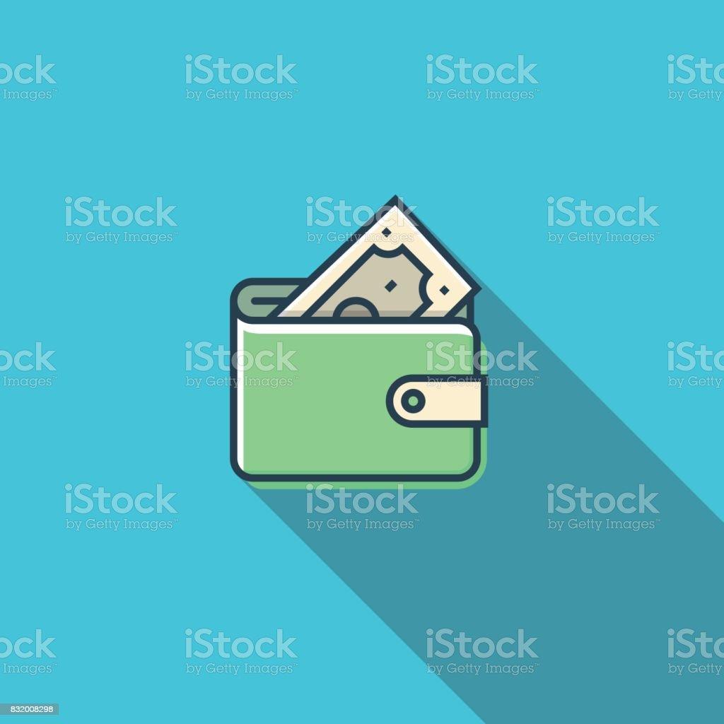 Wallet Flat Icon vector art illustration
