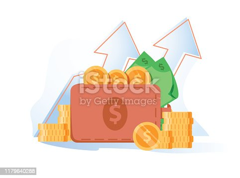 Wallet full of money, revenue increase, high interest rate, income growth, budget profit, financial fund growth, raise capital, investment portfolio, vector flat illustration. Bank debt account profit