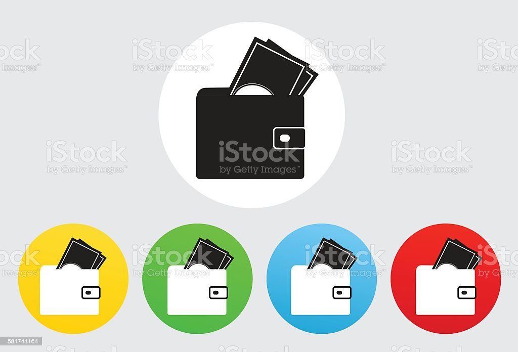 Wallet Icon Flat Graphic Design vector art illustration