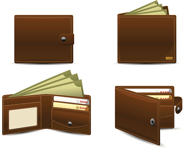 Wallet icons | Classic series 4 Vector icons of leather wallets, showing bank notes and credit cards. wallet stock illustrations