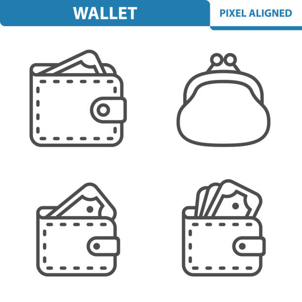 Wallet Icons Professional, pixel perfect icons, EPS 10 format. change purse stock illustrations