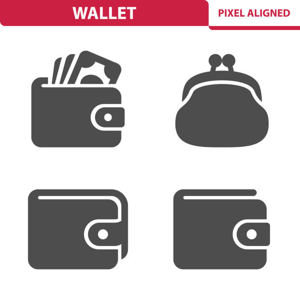 Wallet Icons Professional, pixel aligned icons depicting various wallet concepts. change purse stock illustrations