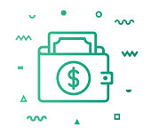 Wallet outline style icon design with decorations and gradient color. Line vector icon illustration for modern infographics, mobile and web designs.