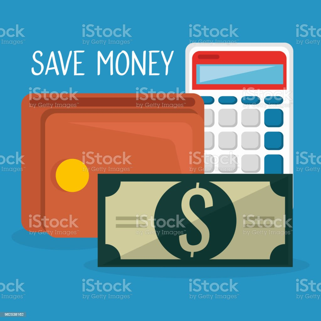 wallet with bills dollars and calculator - Royalty-free Bank - Financial Building stock vector