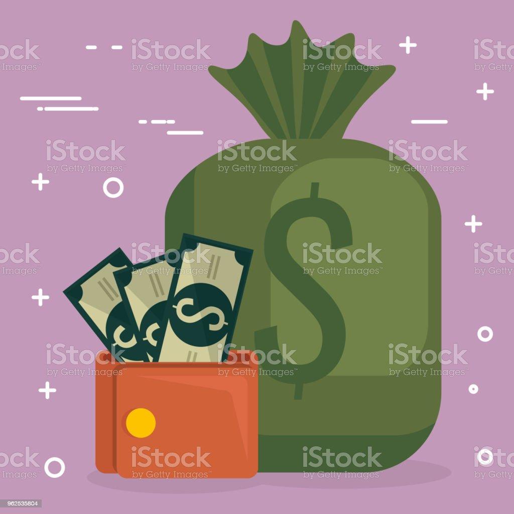 carteira com notas de dólares e saco - Vetor de Banco - Edifício financeiro royalty-free