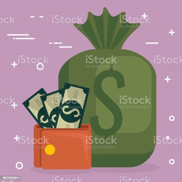 Vetores de Carteira Com Notas De Dólares E Saco e mais imagens de Banco - Edifício financeiro