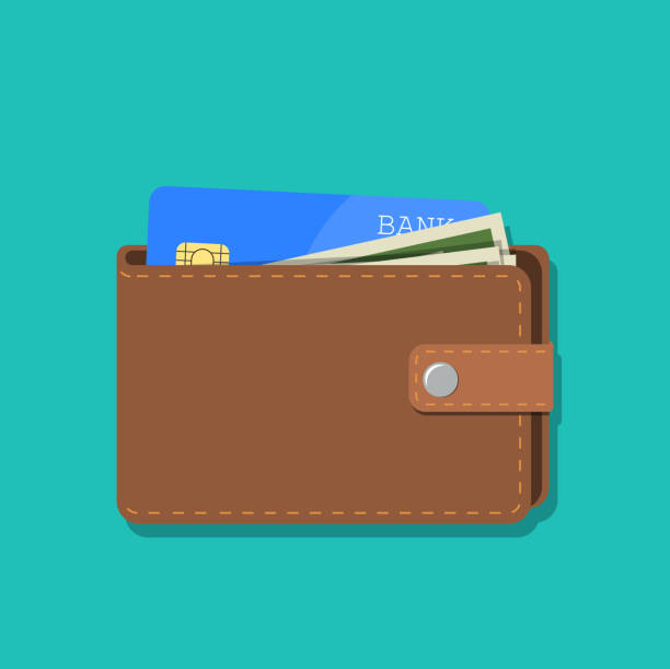wallet with card and cash wallet with card and cash. Brown wallet with money. Concept for business,print,web sites,magazines,online shop,finance,banks. vector illustration in flat design wallet stock illustrations