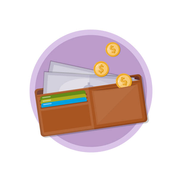Wallet with cash and coins. Vector icon. Wallet with cash and coins. Vector icon. wallet stock illustrations
