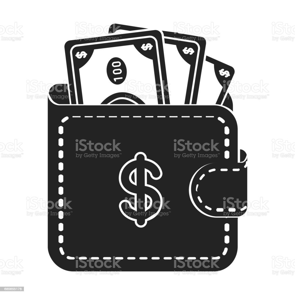 Wallet with cash icon in black style isolated on white background. E-commerce symbol stock vector illustration. royalty-free wallet with cash icon in black style isolated on white background ecommerce symbol stock vector illustration 가방에 대한 스톡 벡터 아트 및 기타 이미지