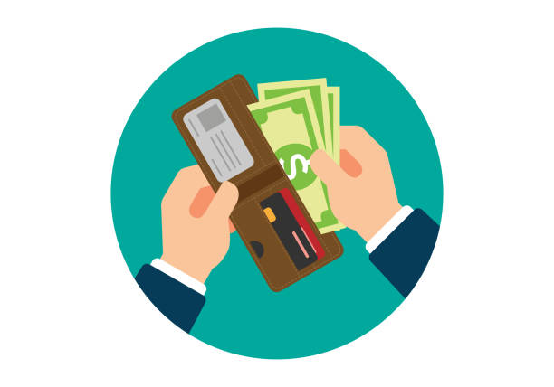 Wallet with Dollars in Hands Wallet with Dollars in Hands bonus march stock illustrations