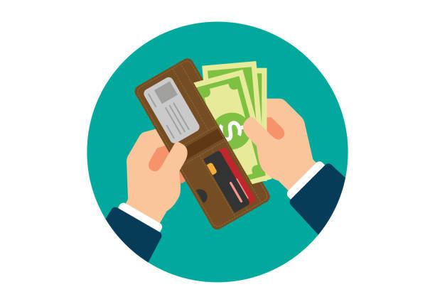 Wallet with Dollars in Hands vector art illustration
