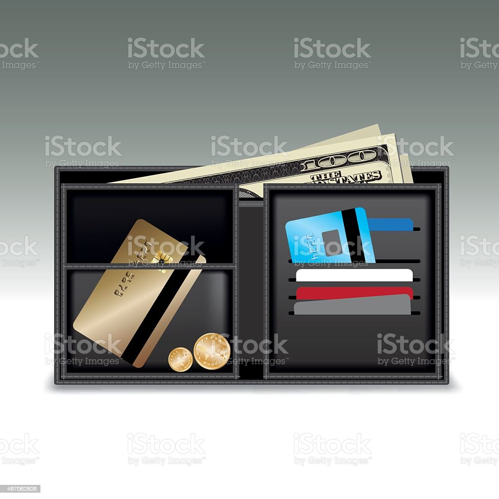 Wallet with money and credit cards vector art illustration