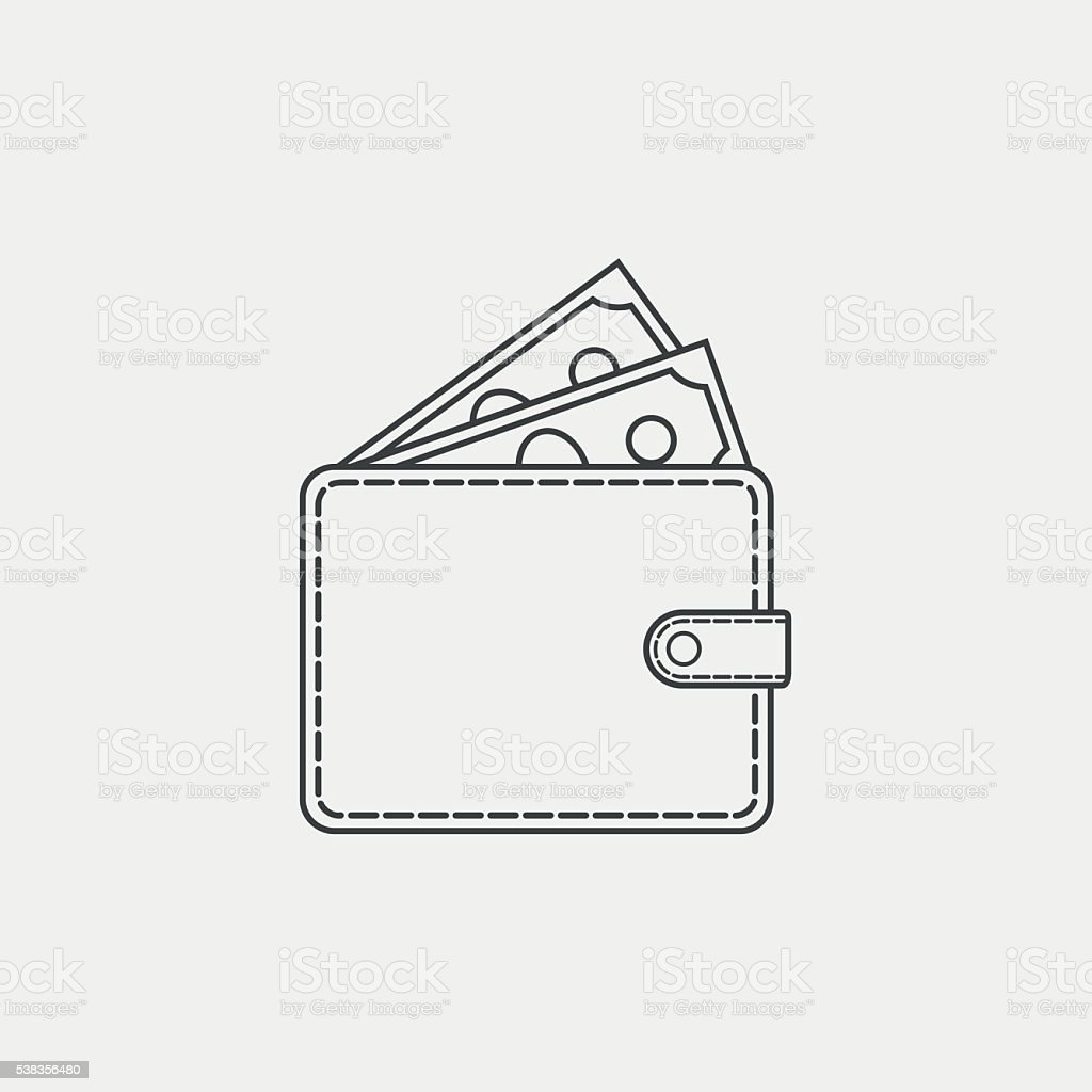 Wallet with money line icon on white background vector art illustration