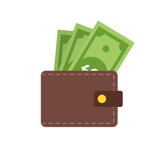 ilustrações, clipart, desenhos animados e ícones de carteira com dinheiro. projeto liso do intrandy da ilustração da realeza ou do dinheiro. dólar do pagamento na carteira. - carteira