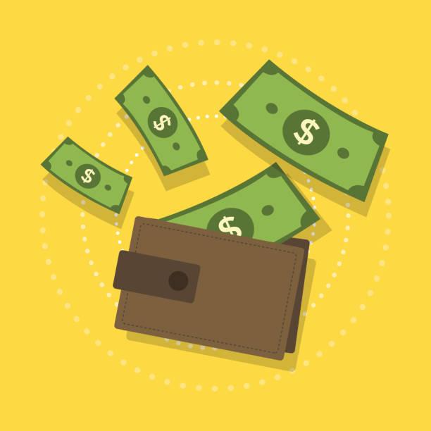 wallet with money. - dollar bill stock illustrations
