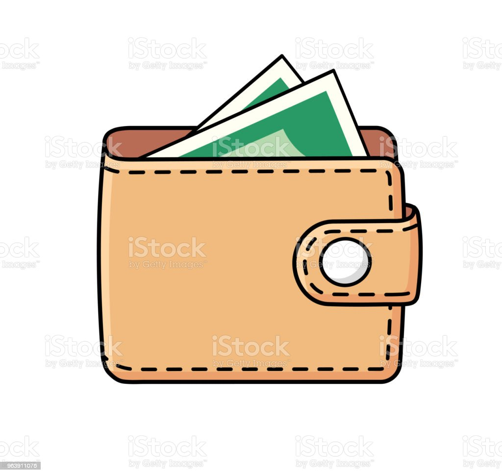 Wallet with money - Royalty-free ATM stock vector