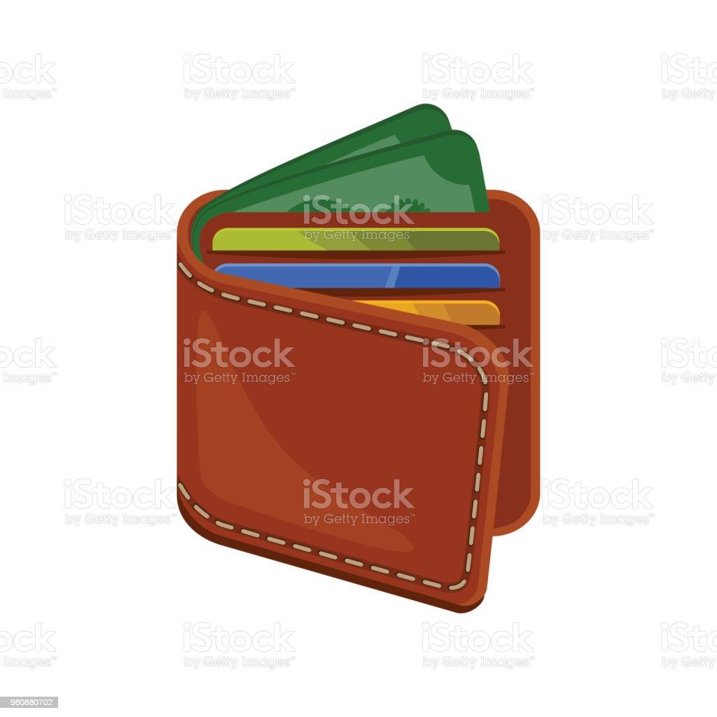 Amerikaanse Leren Bank.Portemonnee Met Plastic Bank Creditcards En Geld Bruin Lederen Tas