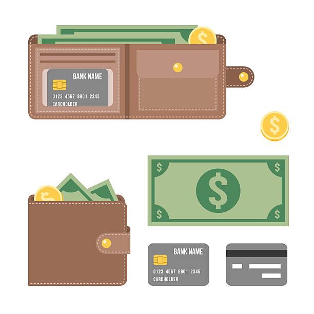 portfel z pieniędzy i karty kredytowej ilustracja wektorowa - portfel stock illustrations