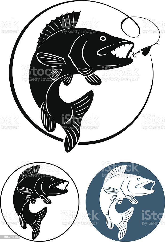 Walleye fish decals on white background vector art illustration