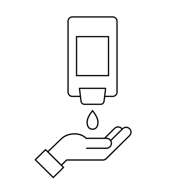 Wall-Mount hand sanitizer dispenser with a hand. Line icon. Automatic wall hanging liquid soap bottle. Washing and disinfecting hands. Antivirus and antibacterial protection. Vector illustration, flat rubbing alcohol stock illustrations