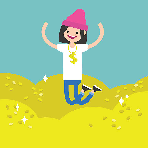 ilustrações de stock, clip art, desenhos animados e ícones de wallow in money conceptual illustration - enjoying wealthy life
