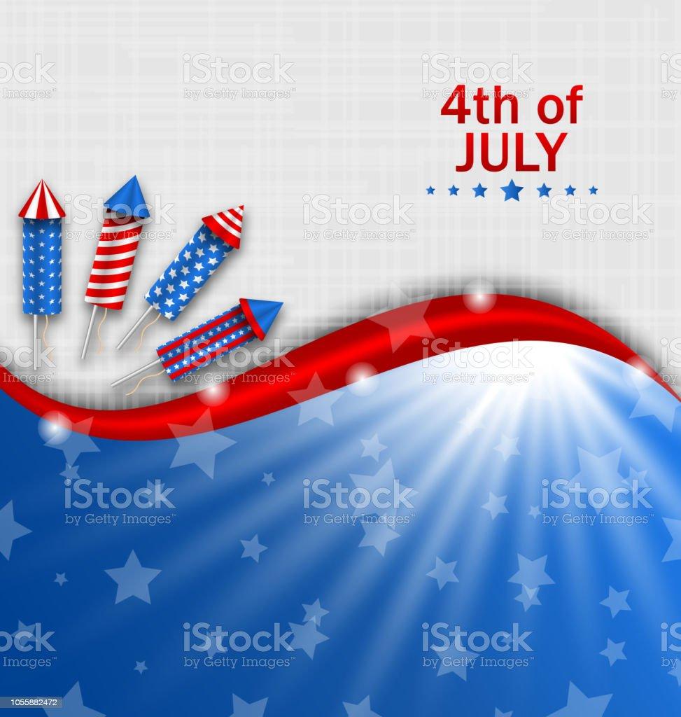 アメリカ独立記念日伝統的な国民色ロケット花火の壁紙 お祝いの