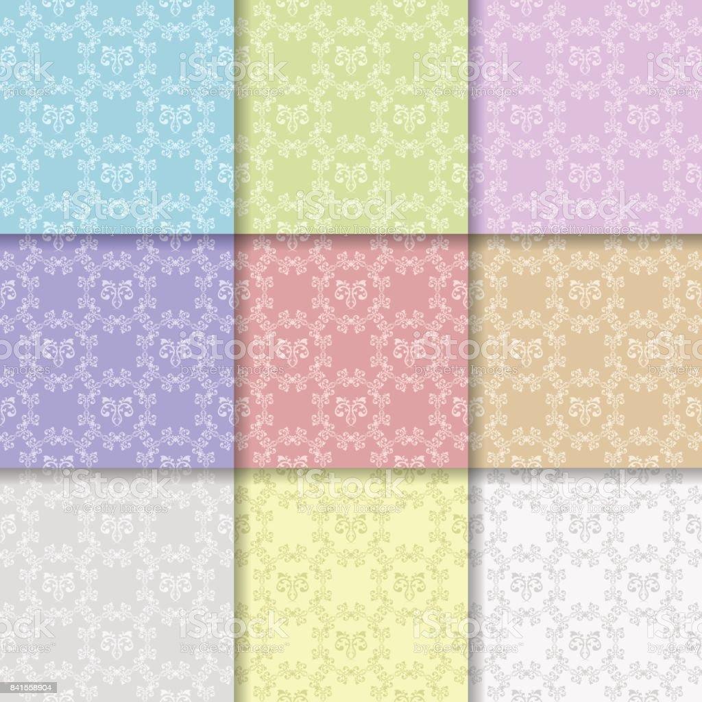 複数の色の花の装飾を持つシームレス パターンのセットの壁紙します