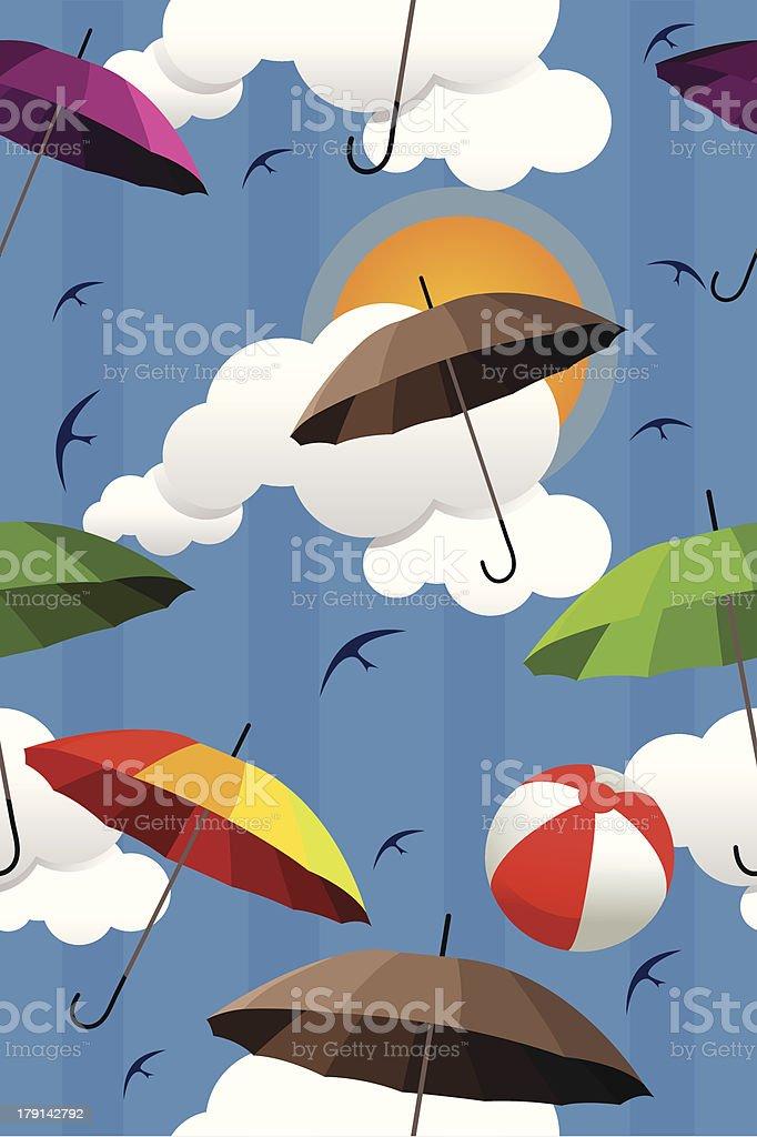 Wallpaper of colorful umbrellas royalty-free stock vector art
