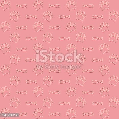 Wallpaper Of Fishes And Paws Cat Stock Vector Art More Images Abstract 941286230