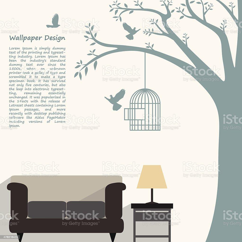 wallpaper pattern design of natural form for interior decorated vector art illustration