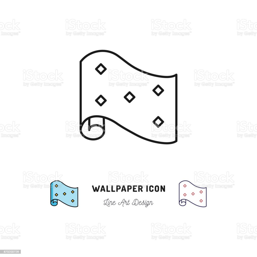 Wallpaper roll icon interior design and home repair thin for Wallpaper home line