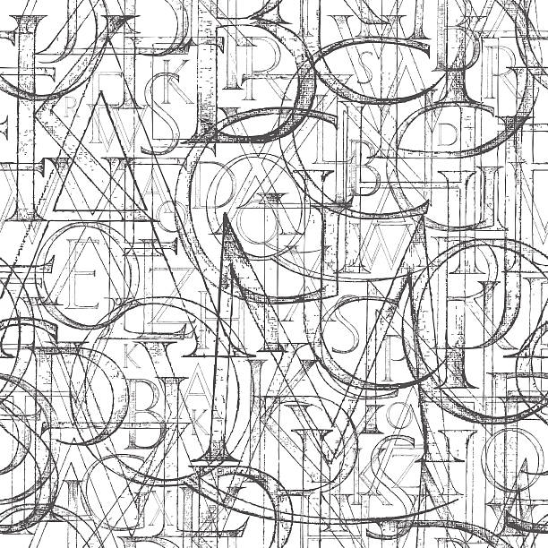 wallpaper seamless pattern with modern roman classic alphabet - alphabet backgrounds stock illustrations