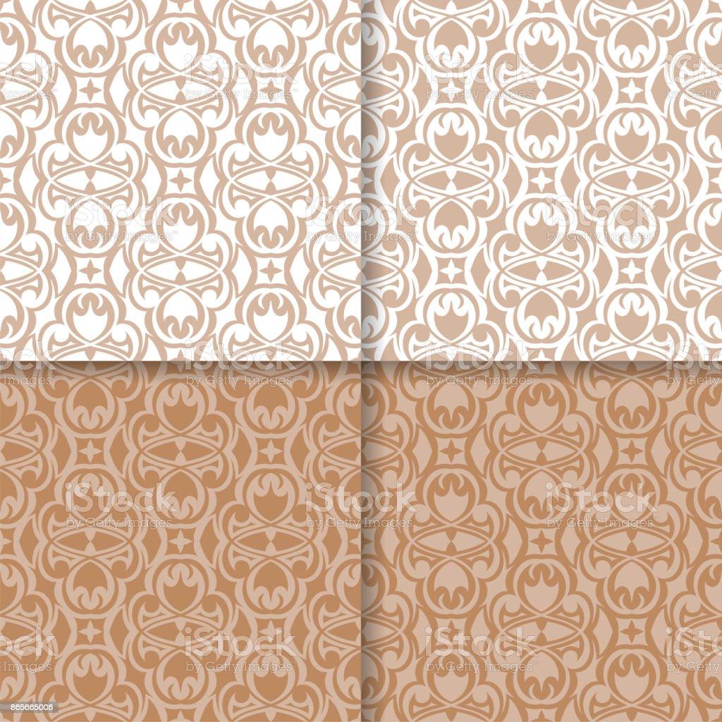 Tapete Reihe Von Braun Beige Nahtlose Muster Mit Floralen Ornamenten  Lizenzfreies Tapetereihe Von Braun Beige